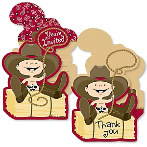 Little Cowboy - 20 Shaped Fill-In Invitations and 20 Shaped Thank You Cards Kit - Western Baby Shower or Birthday Party Stationery Kit - 40 Pack