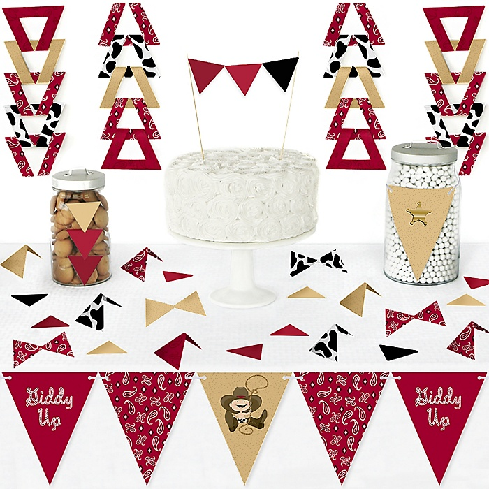 Little Cowboy - DIY Pennant Banner Decorations - Western Baby Shower or Birthday Party Triangle Kit - 99 Pieces
