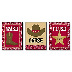 Little Cowboy - Kids Bathroom Rules Wall Art - 7.5 x 10 inches - Set of 3 Signs - Wash, Brush, Flush