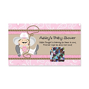 Little Cowgirl - Western Personalized Baby Shower Game Scratch Off Cards - 22 ct