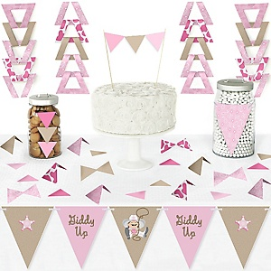 Little Cowgirl - DIY Pennant Banner Decorations - Western Baby Shower or Birthday Party Triangle Kit - 99 Pieces