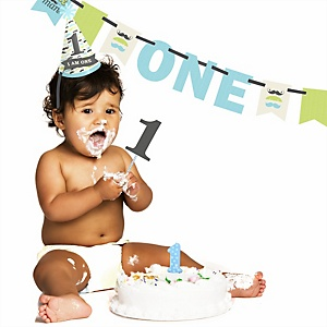 Dashing Little Man Mustache Party - 1st Birthday Boy Smash Cake Kit - High Chair Decorations