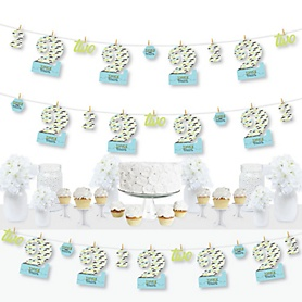 2nd Birthday Dashing Little Man Mustache Party - Second Birthday Party DIY Decorations - Clothespin Garland Banner - 44 Pieces