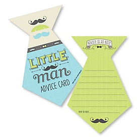 Dashing Little Man Mustache Party - Tie Wish Card Baby Shower Activities - Shaped Advice Cards Game - Set of 20