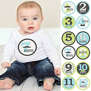 Baby Boy Monthly Sticker Set - Dashing Little Man Mustache Party - Baby Shower Gift Ideas - 12 Piece