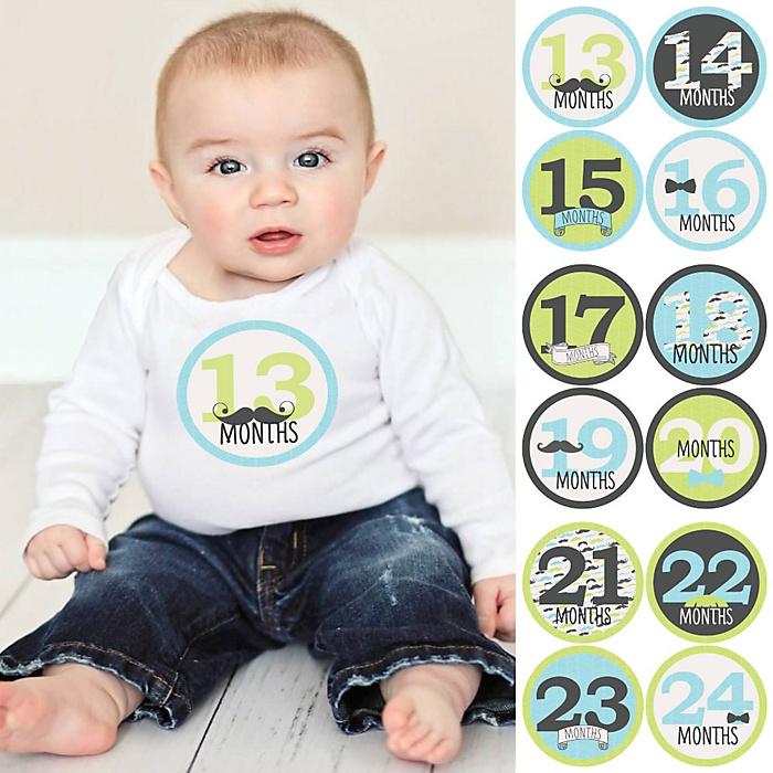 Baby Boy Second Year Monthly Sticker Set - Dashing Little Man Mustache Party - Baby Shower Gift Ideas -  13 - 24 Months Stickers