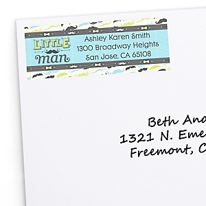 Dashing Little Man Mustache Party - Personalized Baby Shower Return Address Labels - 30 Count
