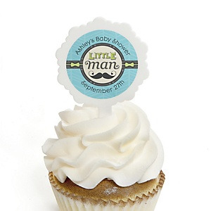 Dashing Little Man Mustache Party - 12 Cupcake Picks & 24 Personalized Stickers - Baby Shower Cupcake Toppers
