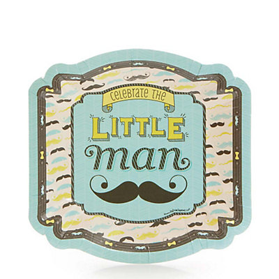 Dashing Little Man Mustache Party - Baby Shower Dessert Plates - 8 ct  sc 1 st  BabyShowerStuff.com & Dashing Little Man Mustache Party - Baby Shower Dessert Plates - 8 ...