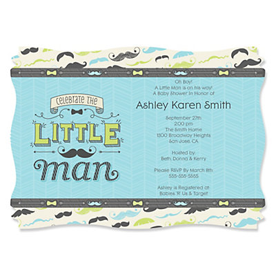 Dashing Little Man Mustache Party   Personalized Baby Shower Invitations |  BigDotOfHappiness.com