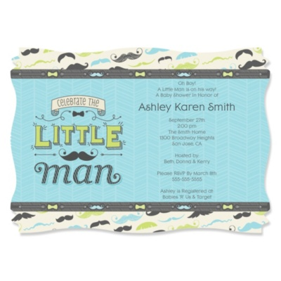 Dashing Little Man Mustache Party Personalized Baby Shower