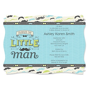 Dashing Little Man Mustache Party - Personalized Baby Shower Invitations - Set of 12