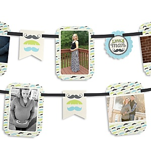 Dashing Little Man Mustache Party - Baby Shower Photo Garland Banners