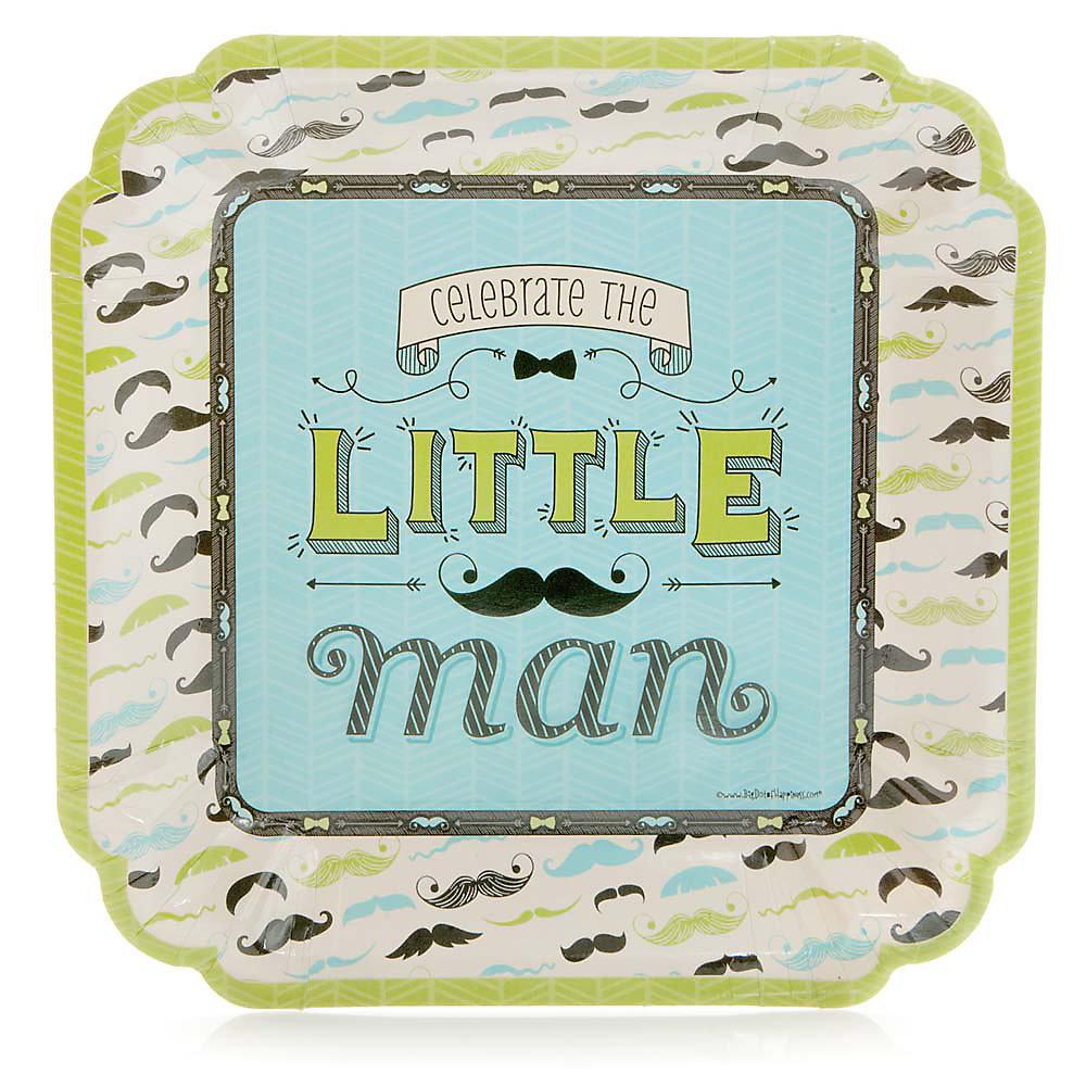 Dashing Little Man Mustache Party - Baby Shower Dinner Plates - 8 ct ...
