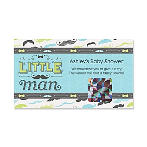 Dashing Little Man Mustache Party - Personalized Baby Shower Game Scratch Off Cards - 22 ct