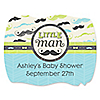 Dashing Little Man Mustache Party - Personalized Baby Shower Squiggle Stickers - 16 ct