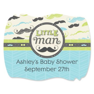 Awesome Dashing Little Man Mustache Party   Personalized Baby Shower Squiggle  Stickers   16 Ct