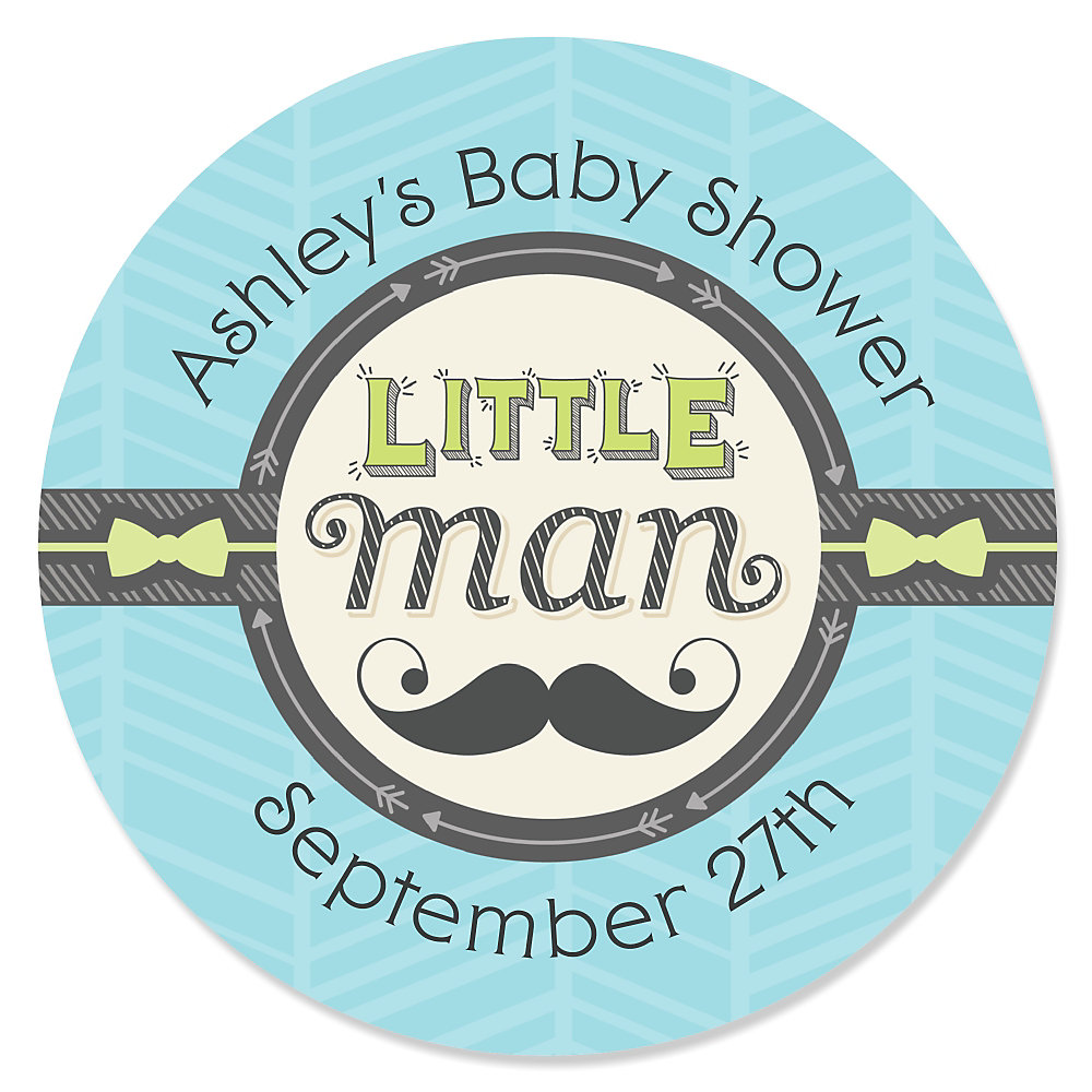 Marvelous Dashing Little Man Mustache Party   Personalized Baby Shower Sticker Labels    24 Ct
