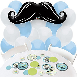 Dashing Little Man Mustache Party - Confetti and Balloon Party Decorations - Combo Kit
