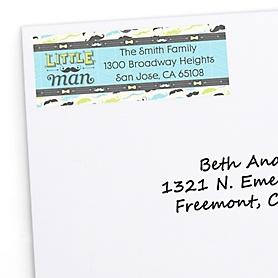 Dashing Little Man Mustache Party - Personalized Birthday Party Return Address Labels - 30 ct