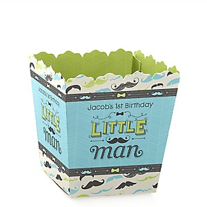 Dashing Little Man Mustache Party - Party Mini Favor Boxes - Personalized Birthday Party Treat Candy Boxes - Set of 12