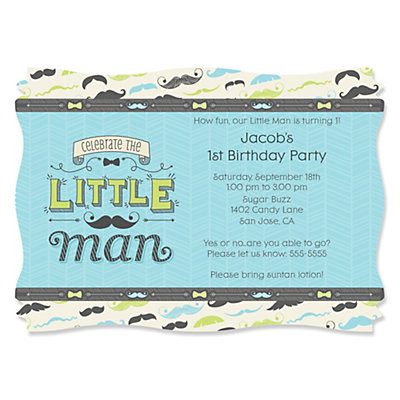Dashing Little Man Mustache Party Personalized Birthday Party – Little Man Mustache Party Invitations