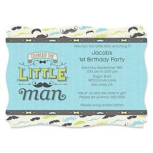Dashing Little Man Mustache Party - Personalized Birthday Party Invitations - Set of 12