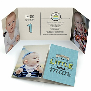 Dashing Little Man Mustache Party - Personalized Birthday Party Photo Invitations - Set of 12