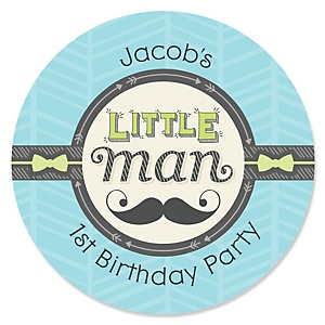 Dashing Little Man Mustache Party - Personalized Birthday Party Sticker Labels - 24 ct