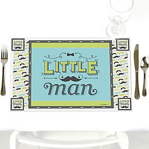 Dashing Little Man Mustache Party - Party Table Decorations - Baby Shower or Birthday Party Placemats - Set of 12