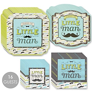 Dashing Little Man Mustache Party - Baby Shower Tableware Plates and Napkins - Bundle for 16