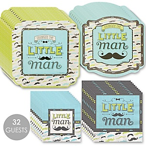 Dashing Little Man Mustache Party - Baby Shower Tableware Plates and Napkins - Bundle for 32