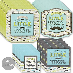 Dashing Little Man Mustache Party - Baby Shower Tableware Plates and Napkins - Bundle for 48