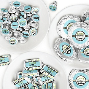 Dashing Little Man Mustache Party - Mini Candy Bar Wrappers, Round Candy Stickers and Circle Stickers - Baby Shower or Birthday Party Candy Favor Sticker Kit - 304 Pieces