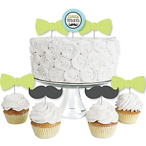 Dashing Little Man Mustache Party - Dessert Cupcake Toppers - Baby Shower or Birthday Party Clear Treat Picks - Set of 24