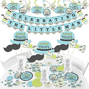 Dashing Little Man Mustache Party - Baby Shower or Birthday Party Supplies - Banner Decoration Kit - Fundle Bundle