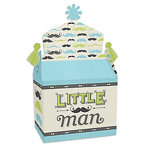 Dashing Little Man Mustache Party - Treat Box Party Favors - Baby Shower or Birthday Party Goodie Gable Boxes - Set of 12