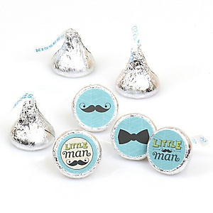 Dashing Little Man Mustache Party - Round Candy Labels Party Favors - Fits Hershey's Kisses 108 ct