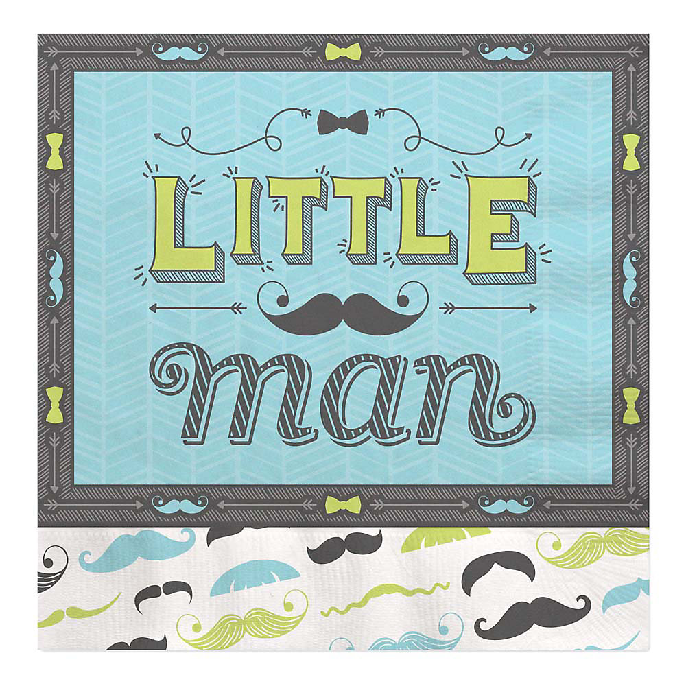Dashing Little Man Mustache Party Baby Shower Luncheon Napkins