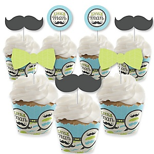 Dashing Little Man Mustache Party - Cupcake Decorations - Baby Shower or Birthday Party Cupcake Wrappers and Treat Picks Kit - Set of 24