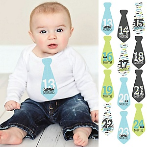 Tie Baby Boy Second Year Monthly Stickers - Dashing Little Man Mustache Party - Baby Shower Gift Ideas - 13-24 Months Necktie Stickers 12 Piece