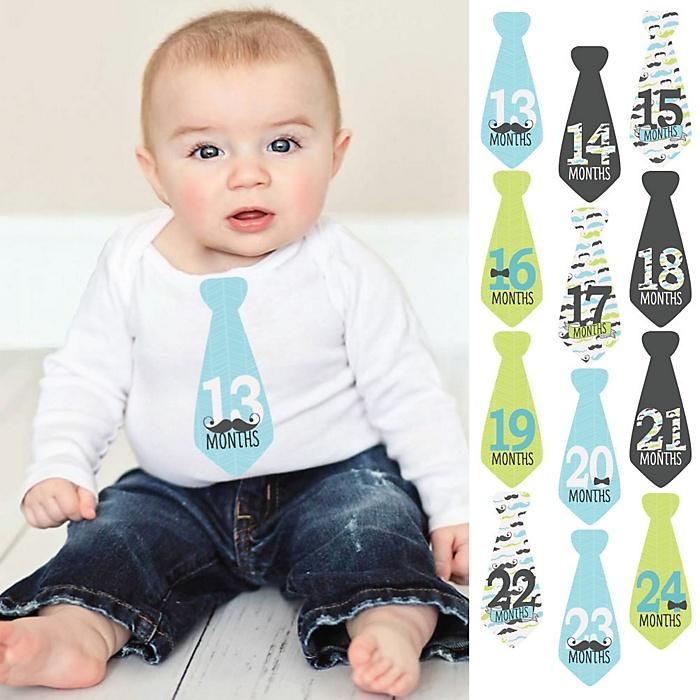 Tie Baby Boy Second Year Monthly Stickers - Dashing Little Man Mustache Party - Baby Shower Gift Ideas - 13-24 Months Necktie Stickers 12 Piece