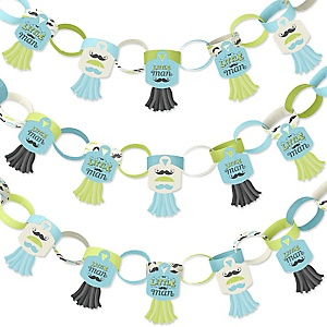 Dashing Little Man Mustache Party - 90 Chain Links and 30 Paper Tassels Decoration Kit - Baby Shower or Birthday Party Paper Chains Garland - 21 feet
