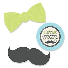 Dashing Little Man Mustache Party - DIY Shaped Party Paper Cut-Outs - 24 ct