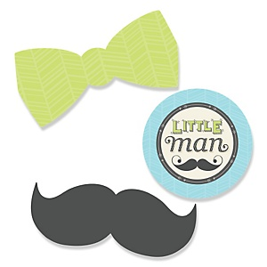 Dashing Little Man Mustache Party - Shaped Party Paper Cut-Outs - 24 ct