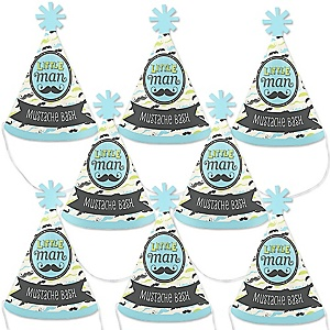 Dashing Little Man Mustache Party - Mini Cone Baby Shower or Birthday Party Hats - Small Little Party Hats - Set of 8