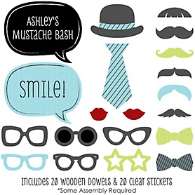 Dashing Little Man Mustache Party - 20 Piece Photo Booth Props Kit