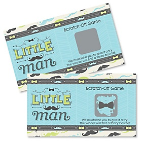 Dashing Little Man Mustache Party - Baby Shower Game Scratch Off Cards - 22 ct