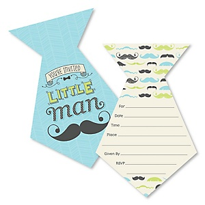 Dashing Little Man Mustache Party - Shaped Fill-In Invitations - Baby Shower or Birthday Party Invitation Cards with Envelopes - Set of 12