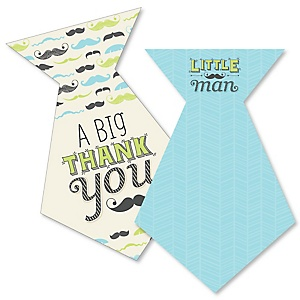 Dashing Little Man Mustache Party - Shaped Thank You Cards - Baby Shower or Birthday Party Thank You Note Cards with Envelopes - Set of 12
